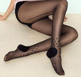 Black Tights with Dotted Seams Fiore Tricky